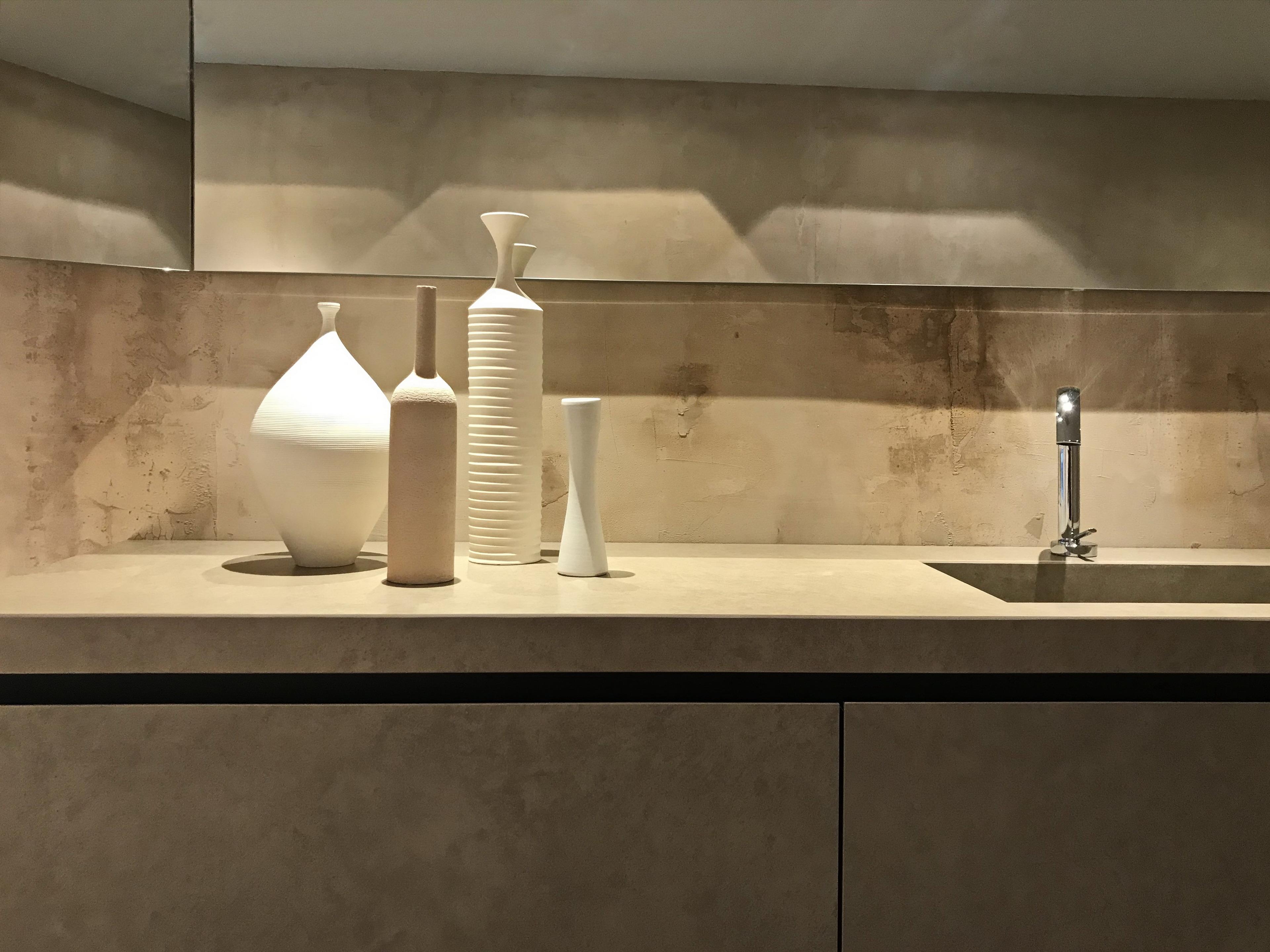 Showroom Elmar in Milan, TerraVista Wabi Cipria by Matteo Brioni