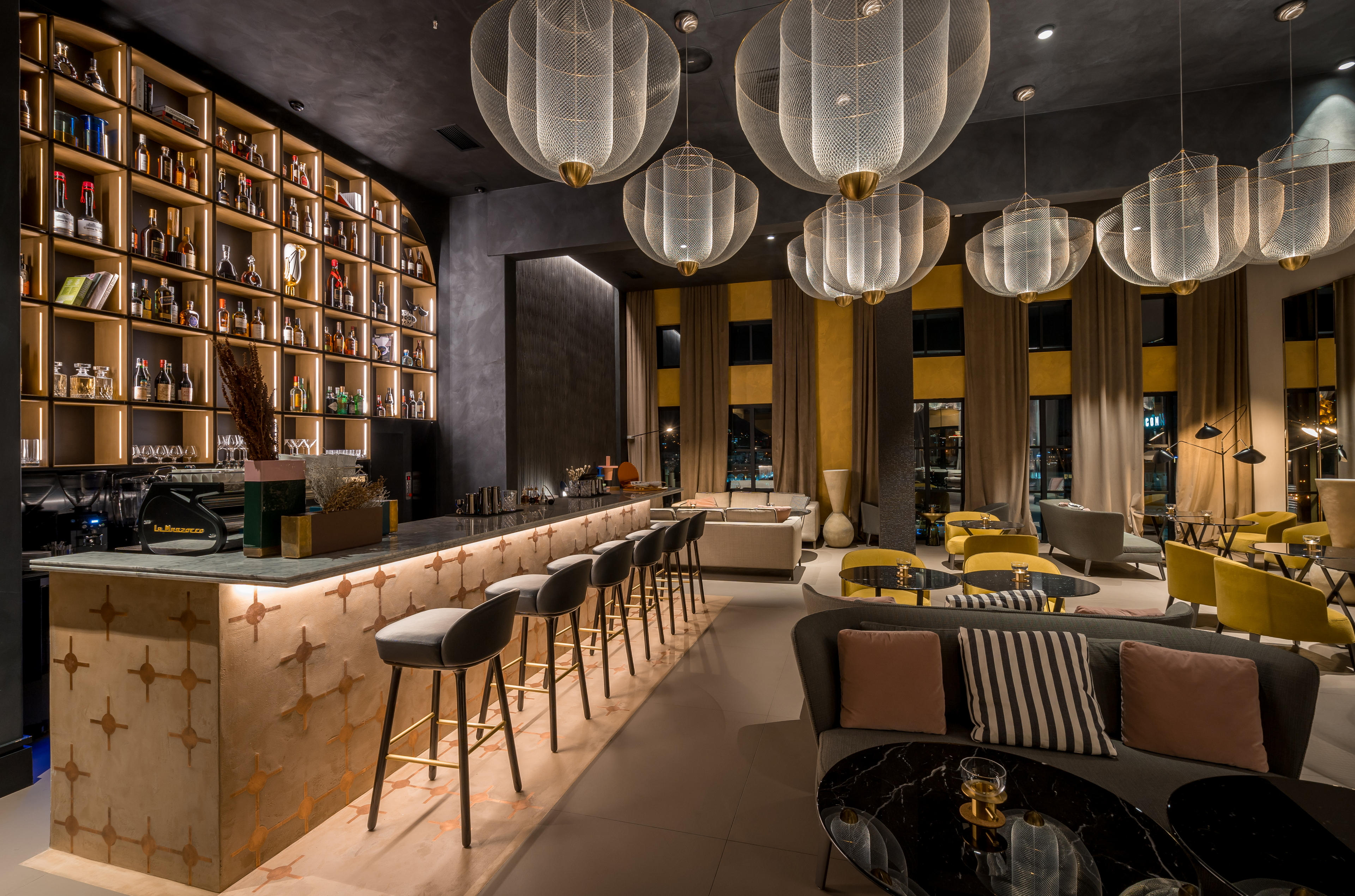 Monograph Lounge bar, Tbilisi by Motif Design Elements, Proact.e and Studio Irvine, made with TerraTon Wall Smooth Plus Polvere with TerraFrame inserts
